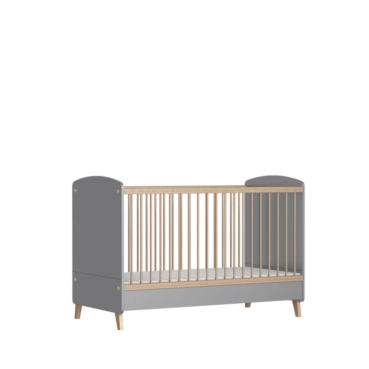 ID Kids Lit bébé évolutif, matelas Panneaux de bois 70x140 Gris, bois