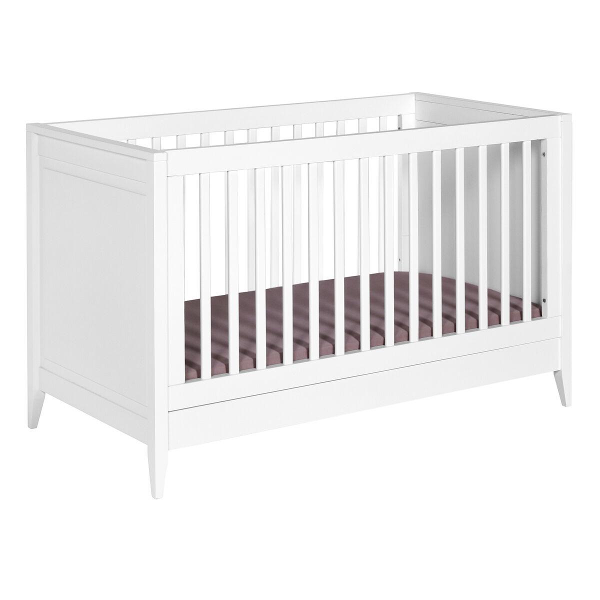 ID Kids Lit bébé évolutif, matelas Bois massif, MDF 70x140 Blanc
