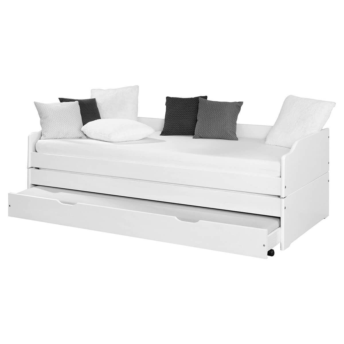 Altobuy Lit  80x190 cm multifonction vernis blanc