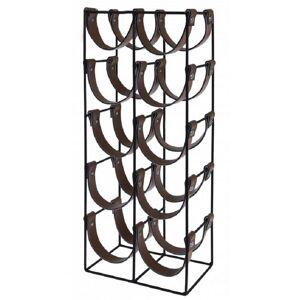 Wadiga Porte bouteilles métal noir et similicuir marron 10 bouteilles H60cm - Publicité