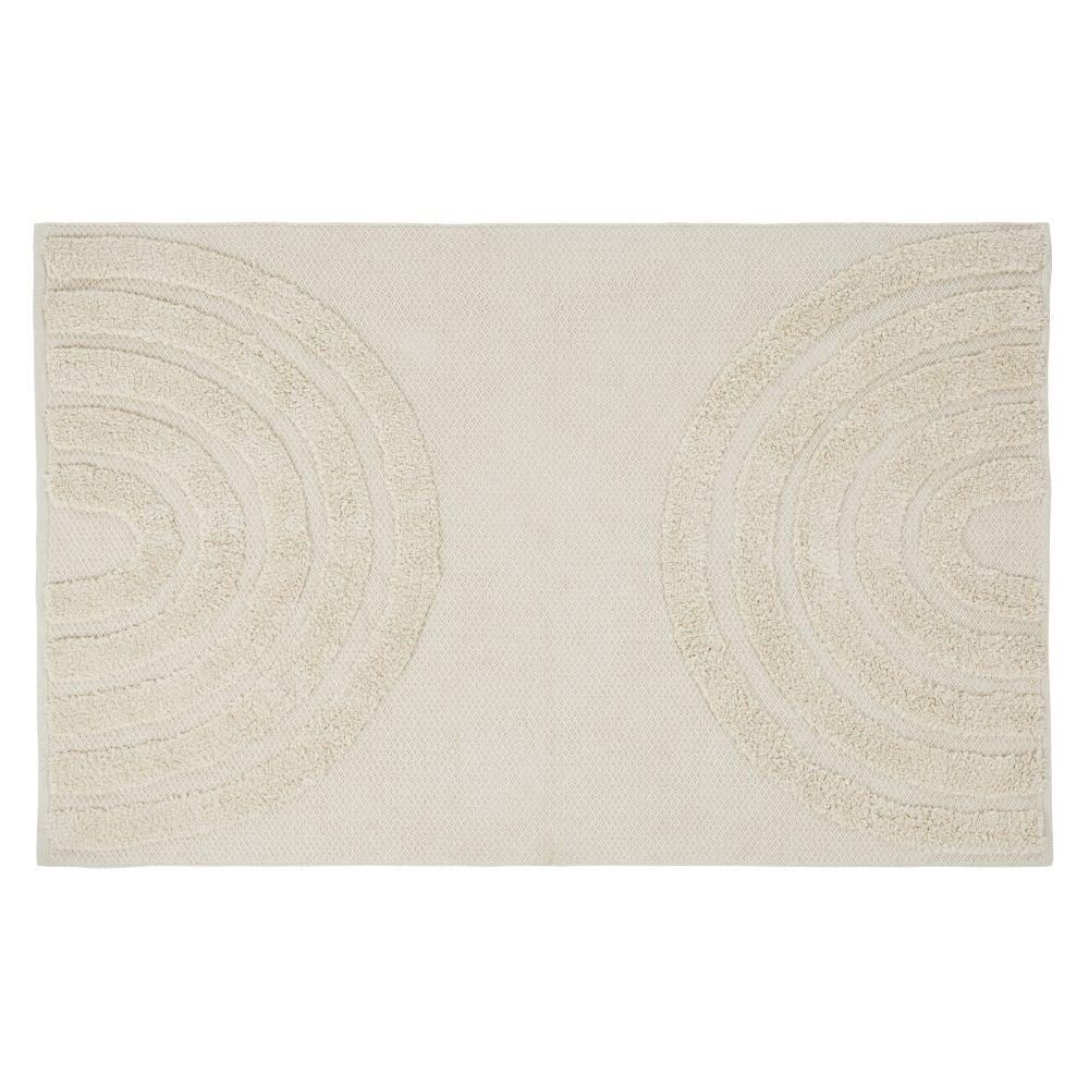 Maisons du Monde Tapis en coton bio tissé écru motifs graphiques tuftés 140x200