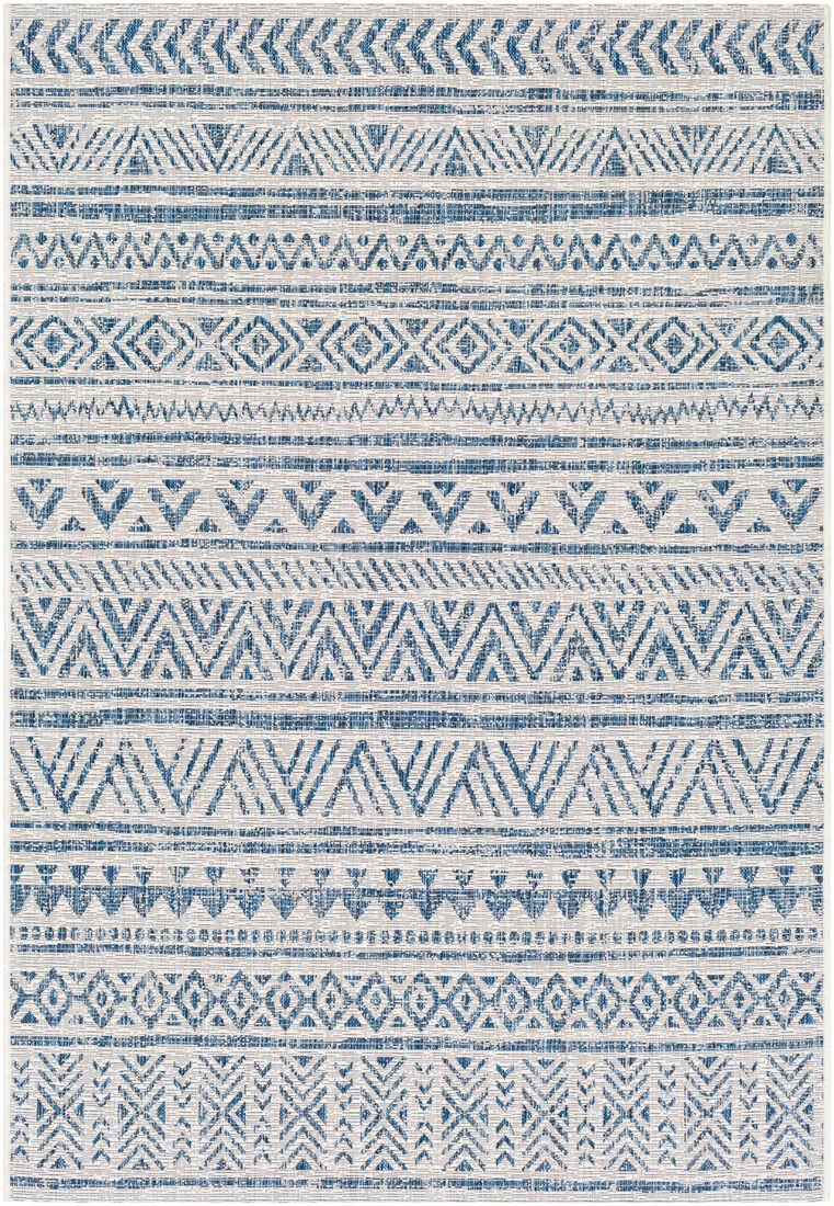 Surya Tapis intérieur/extérieur contemporain bleu marine et blanc 160x231
