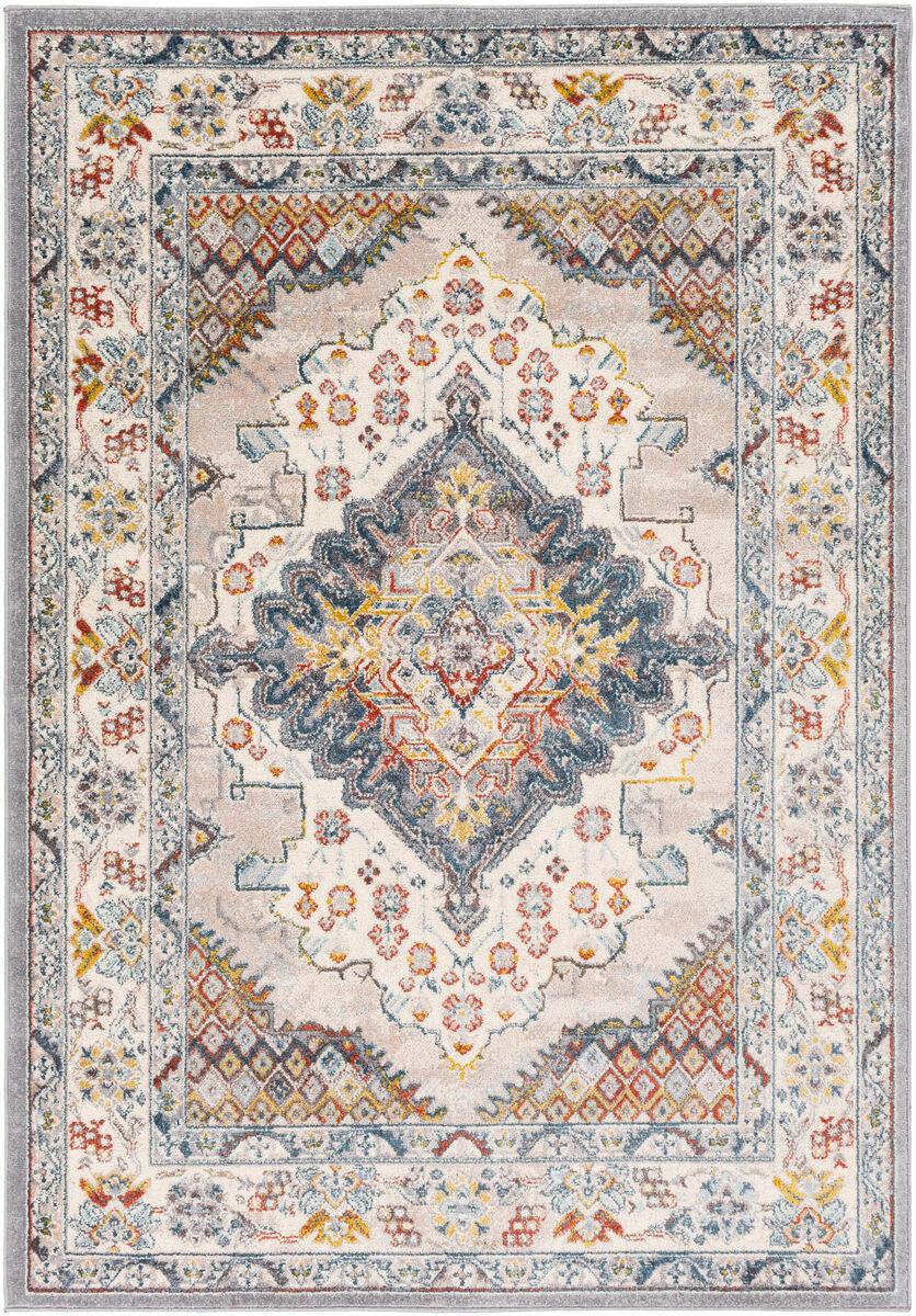 Surya Tapis de salon classique multicolore gris et taupe 157x213