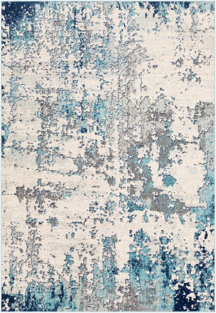 Surya Tapis de salon contemporain gris et bleu 160x220