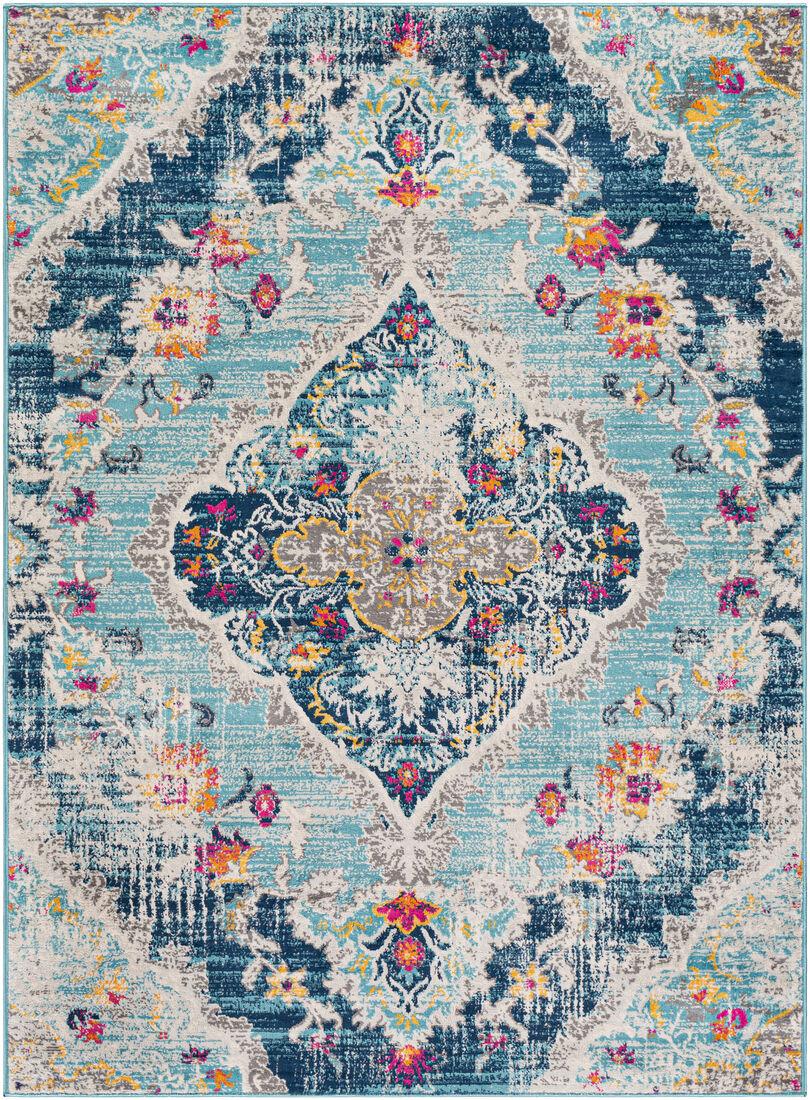 Surya Tapis de salon classique multicolore bleu et gris 160x216