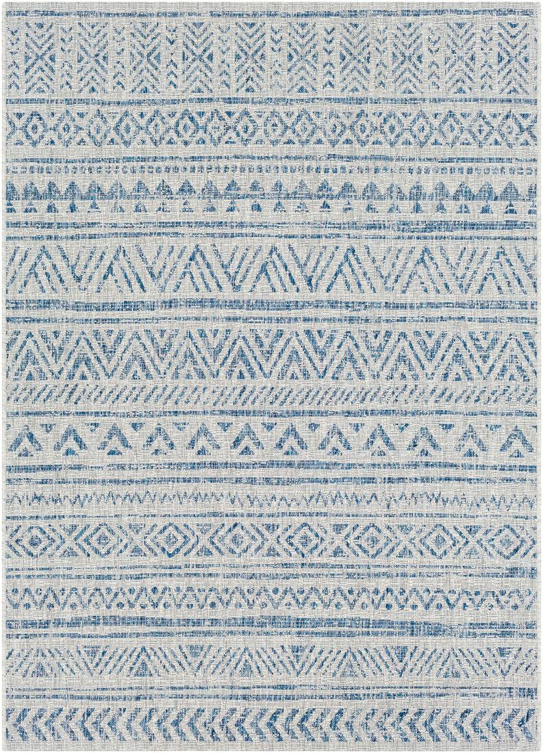 Surya Tapis intérieur/extérieur contemporain bleu et gris 130x180