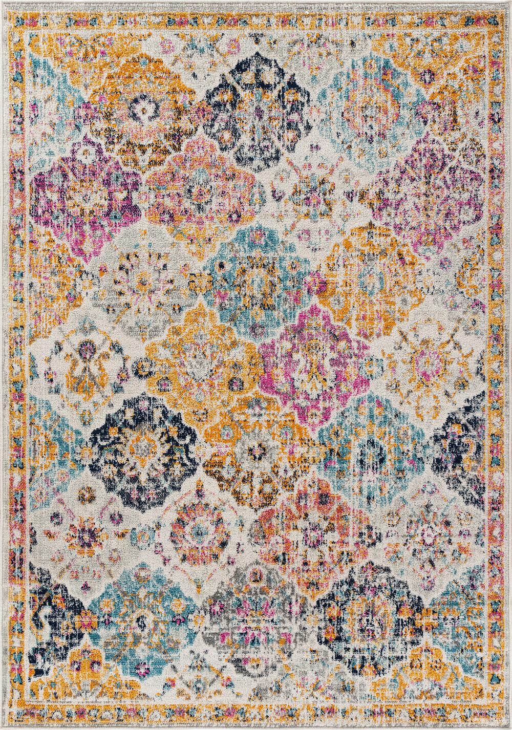 Surya Tapis de salon classique multicolore safran, orange et bleu 120x170