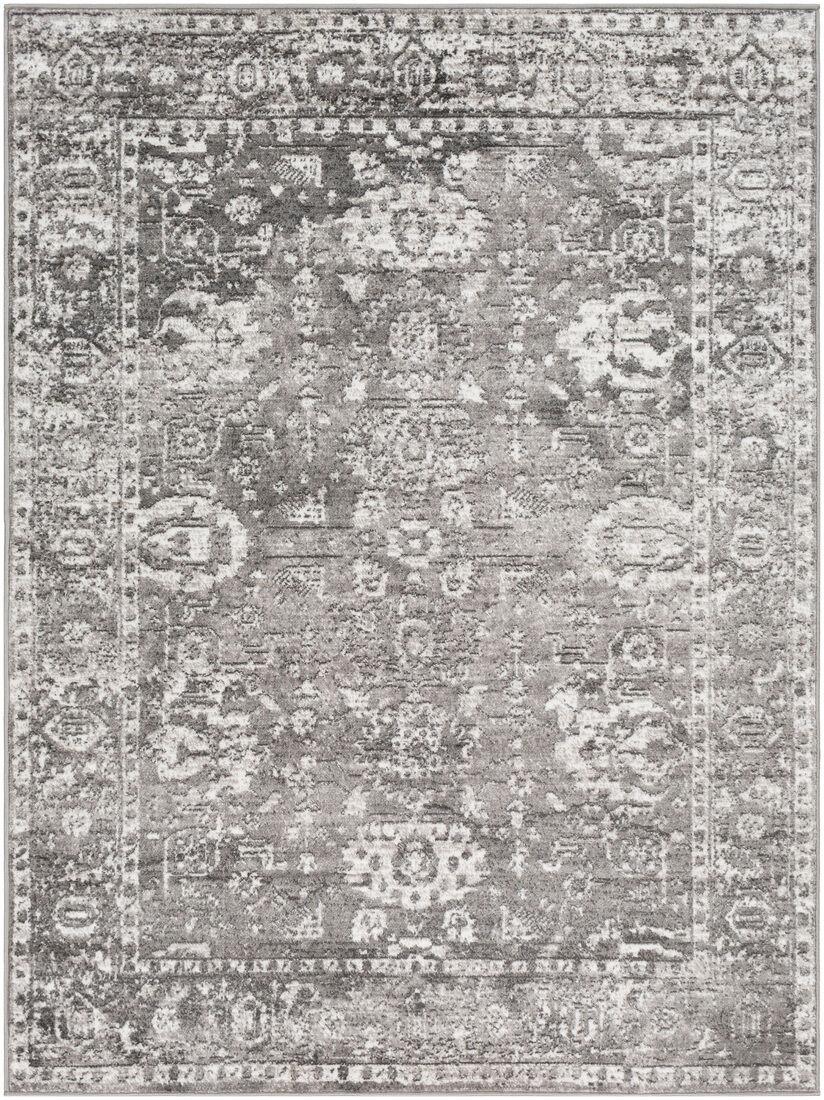 Surya Tapis de salon classique gris et blanc 160x220