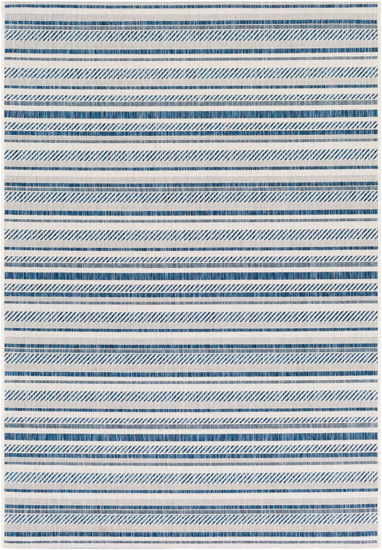 Surya Tapisintérieur/extérieur contemporain bleu marine et blanc 160x231