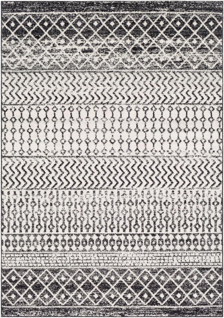Surya Tapis de salon contemporain noir, gris et blanc 120x170