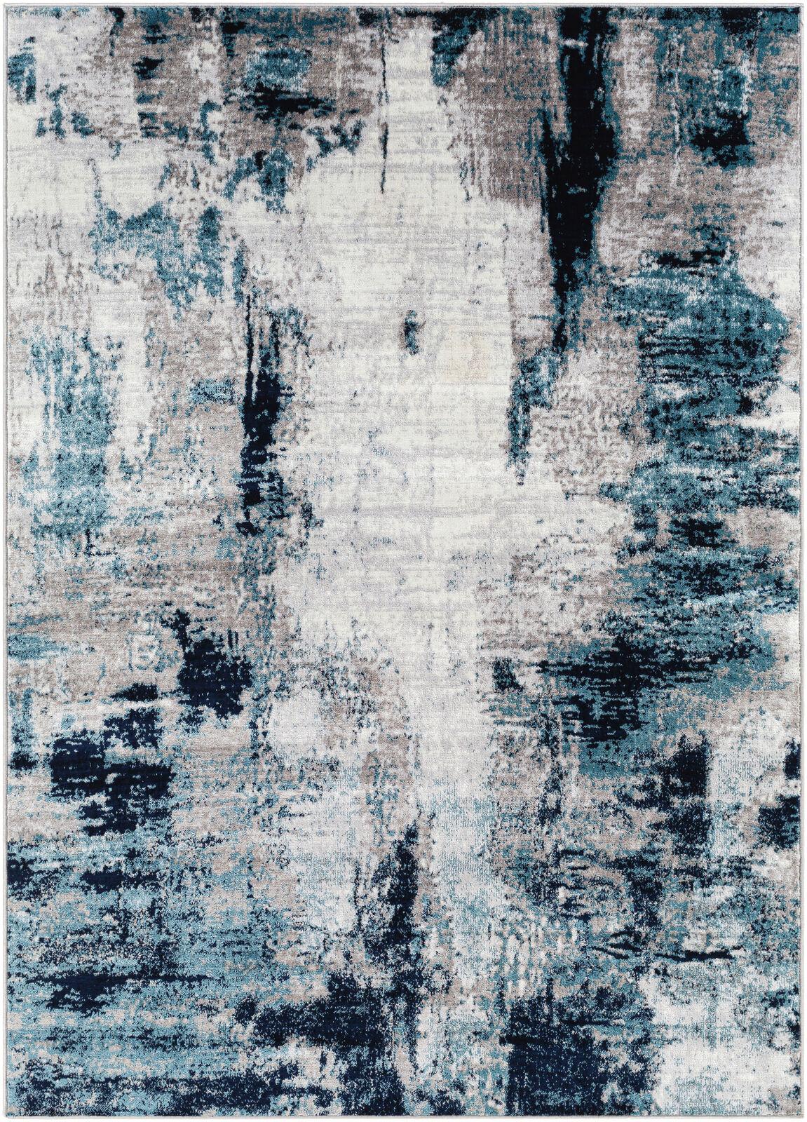 Surya Tapis de salon contemporain gris et bleu marine 160x220