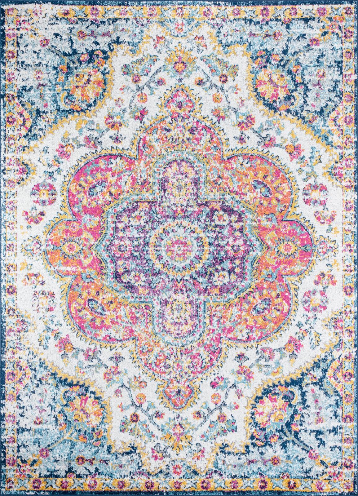 Surya Tapis de salon classique multicolore rose, safran et bleu 160x220