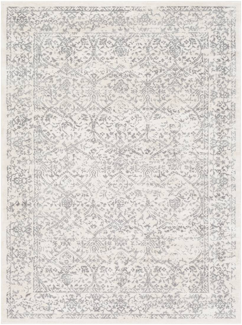 Surya Tapis de salon classique blanc et gris 160x216