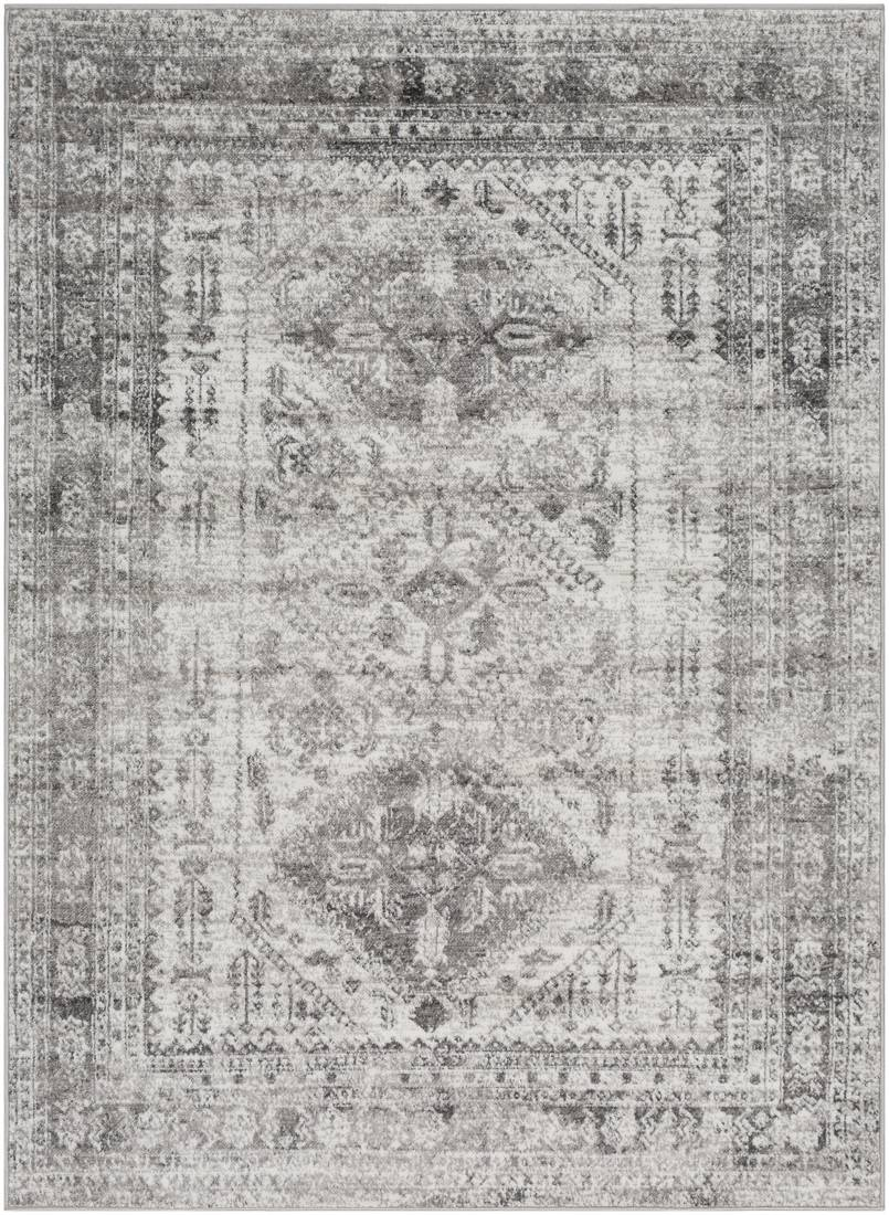 Surya Tapis de salon classique gris et blanc 120x170