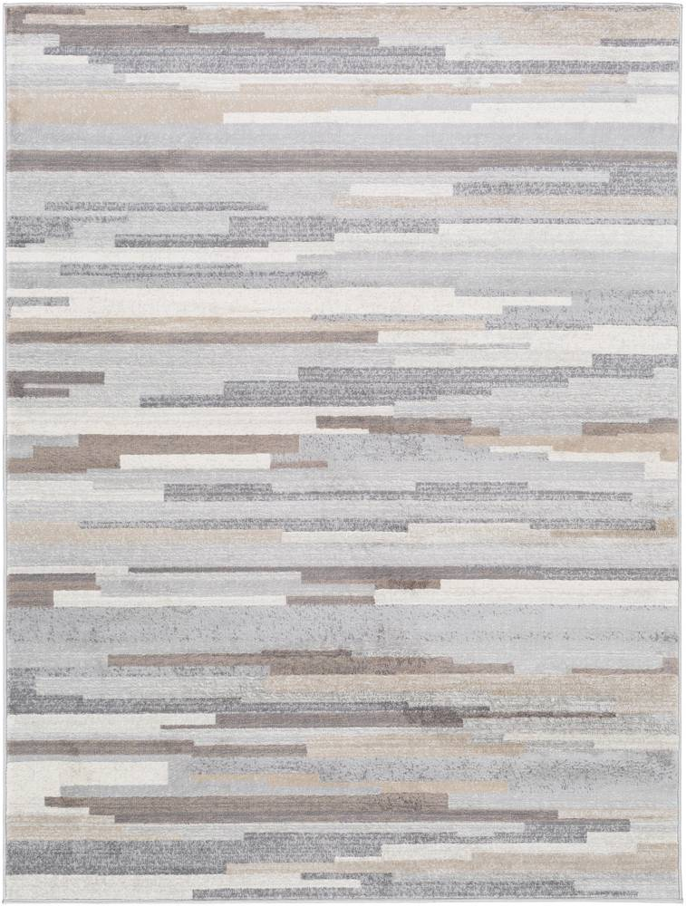 Surya Tapis de salon contemporain brun et gris 200x274