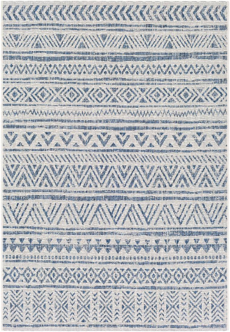 Surya Tapis intérieur/extérieur contemporain bleu marine et blanc 130x180