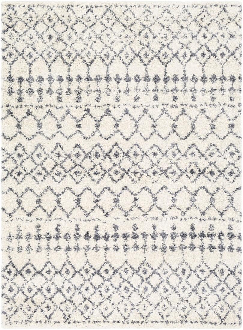 Surya Tapis de salon contemporain gris et blanc 160x220