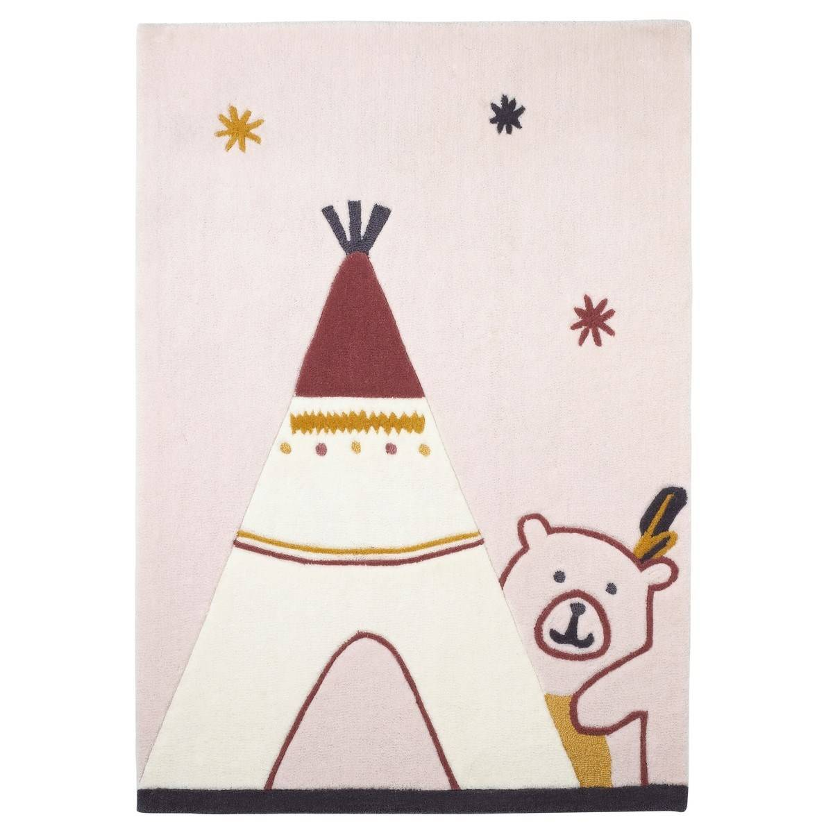 Sauthon Tapis de chambre enfant tipi 130x90cm en acrylique beige