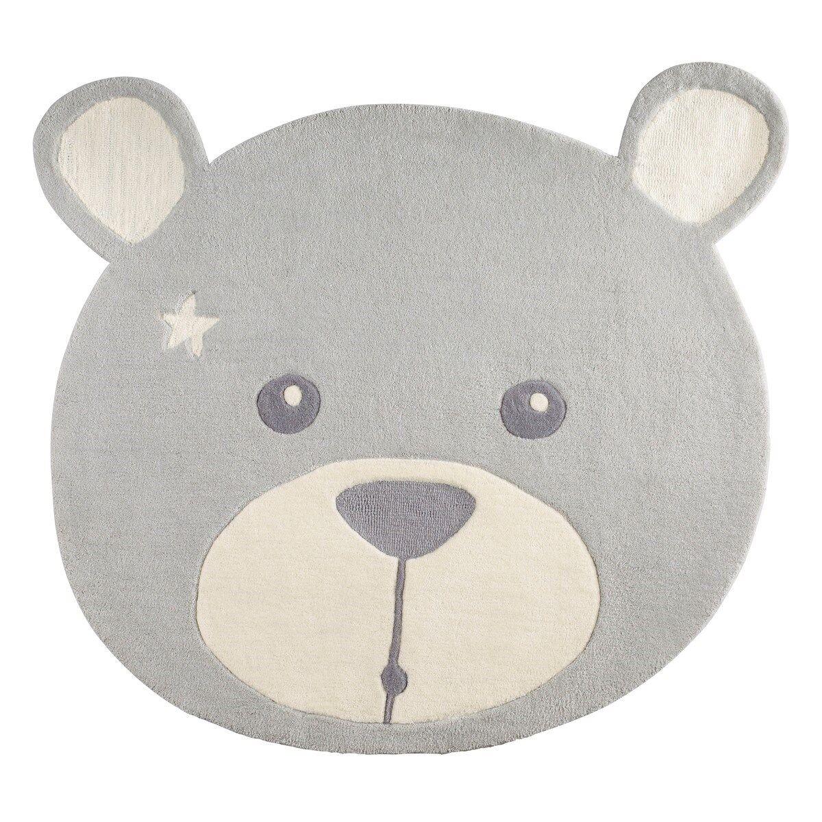 Sauthon Tapis de chambre enfant ours 95x87 cm en acrylique gris