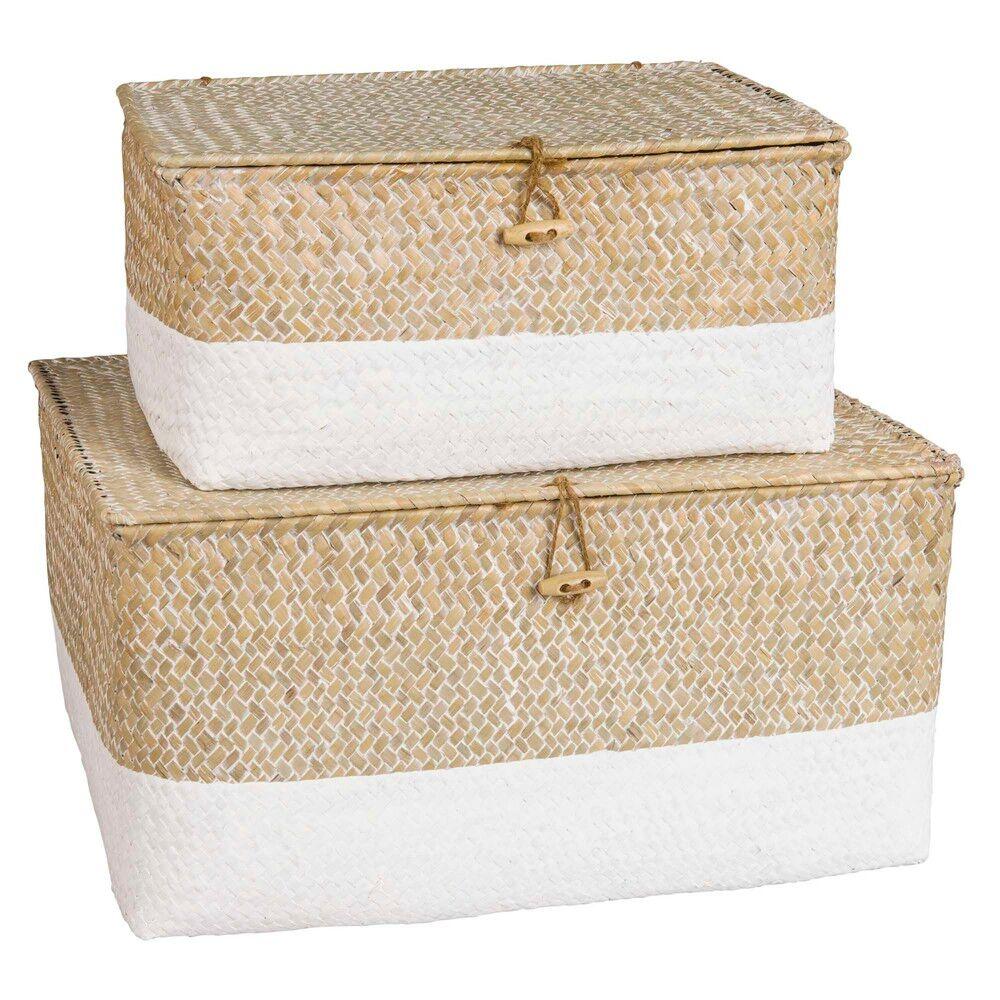 Maisons du Monde 2 boîtes en vannerie blanchie