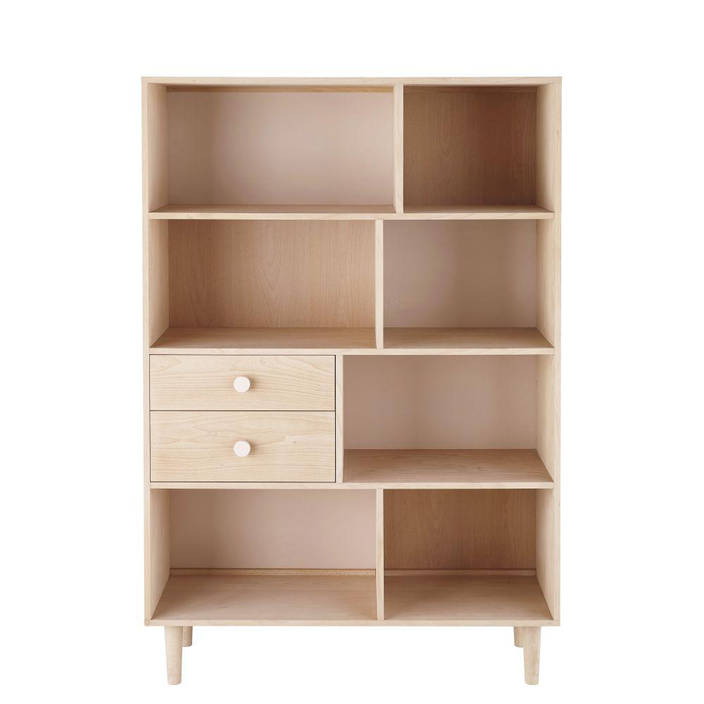 Maisons du Monde Bibliothèque 2 tiroirs en hêtre blanchi et rose poudré Lou