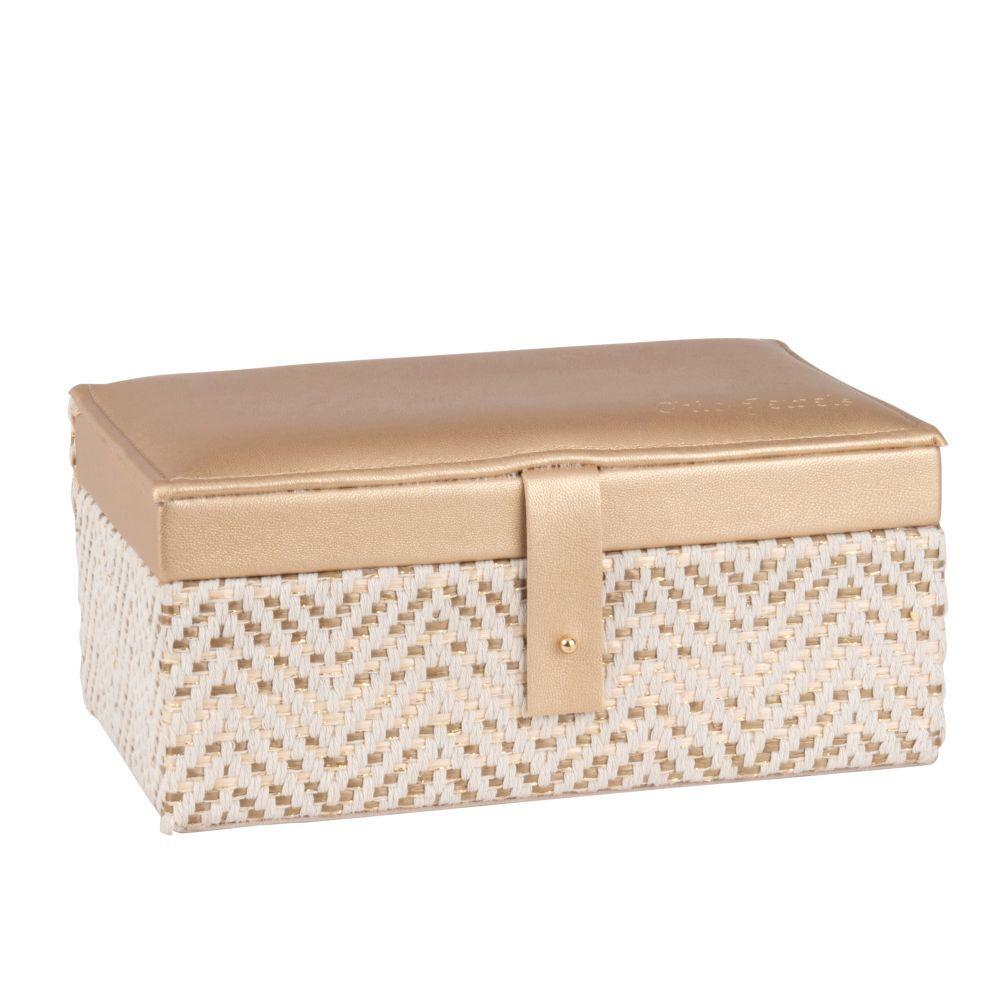 Maisons du Monde Boîte à bijoux tressée bicolore en velours beige