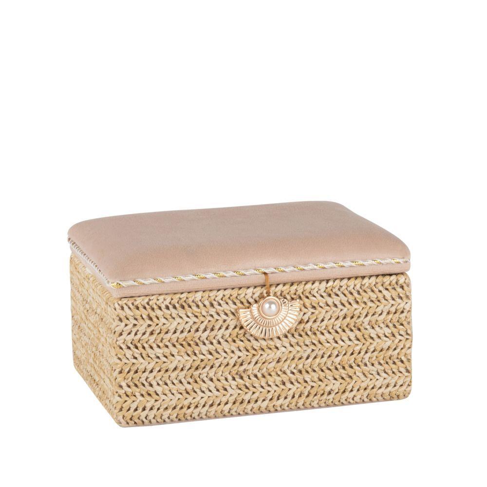 Maisons du Monde Boîte à bijoux tressée et velours beige