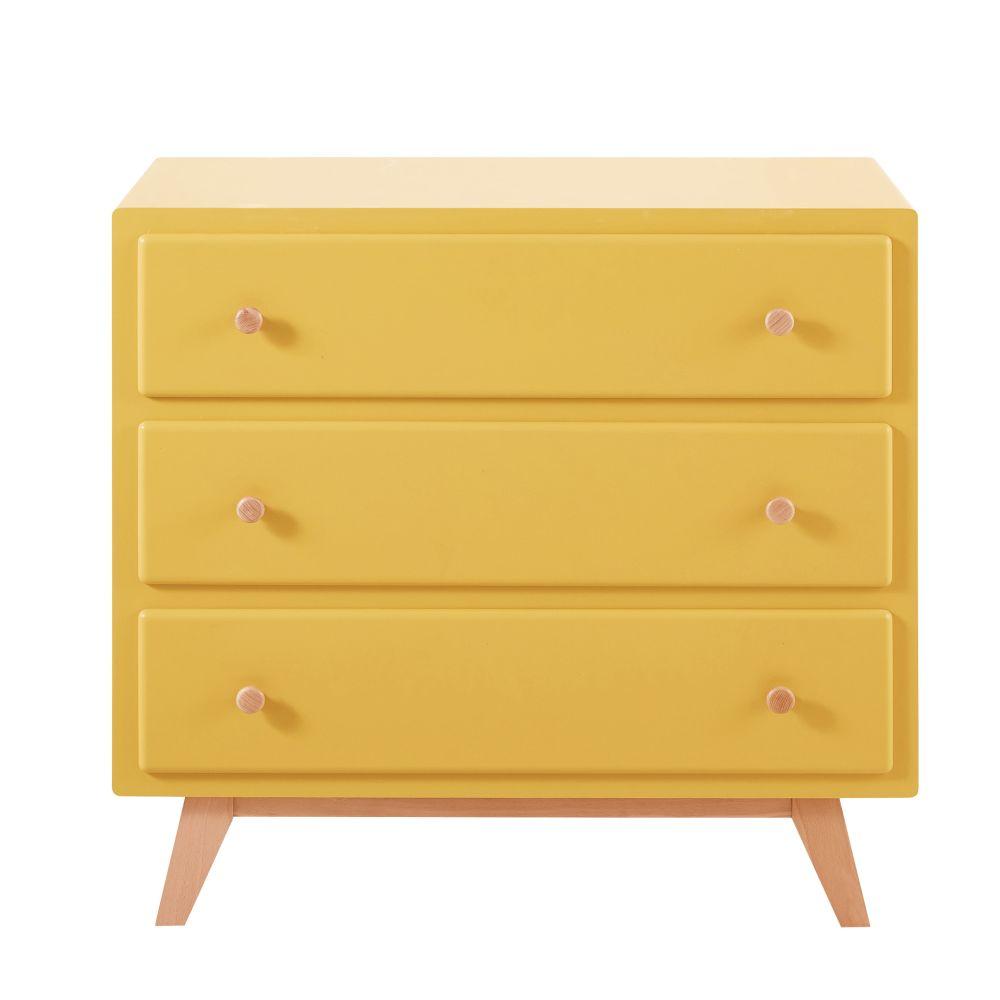 Maisons du Monde Commode compatible plan à langer 3 tiroirs jaune Sweet 2