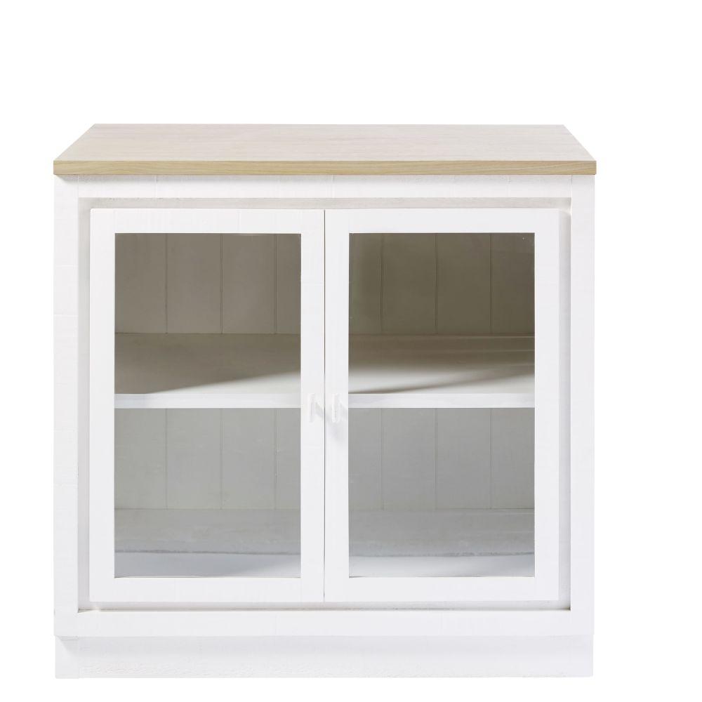 Maisons du Monde Meuble bas de cuisine 2 portes vitré blanc Embrun