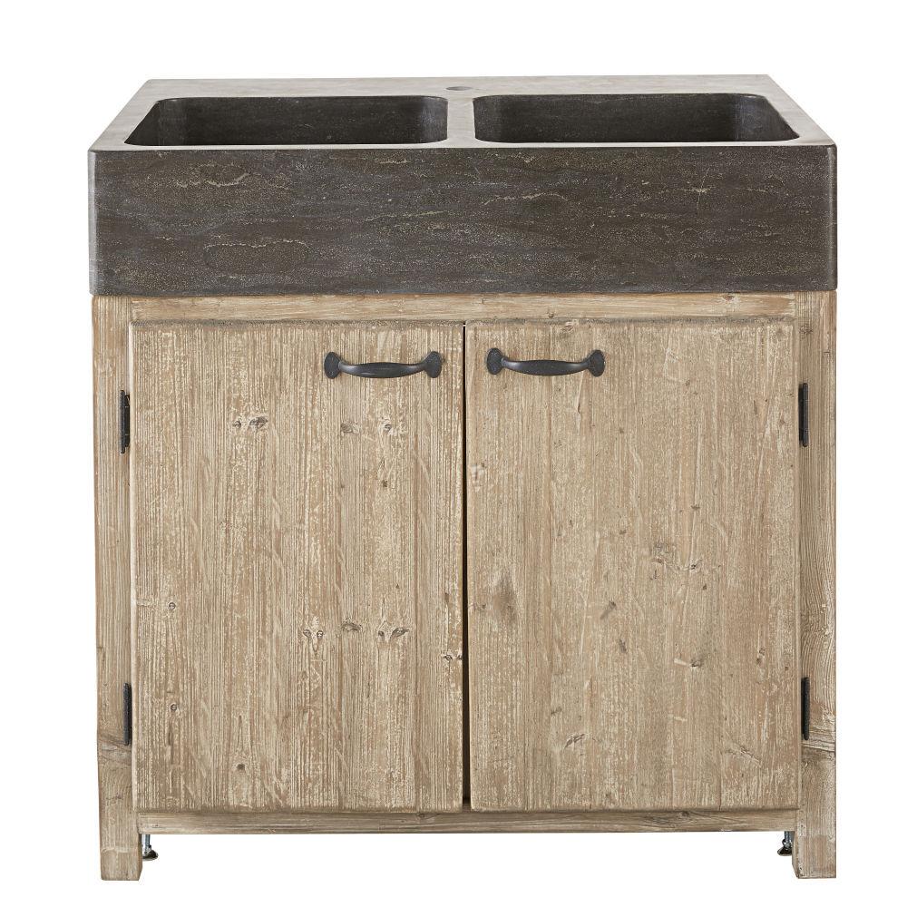 Maisons du Monde Meuble bas de cuisine pour évier 2 portes en pin recyclé grisé Greta