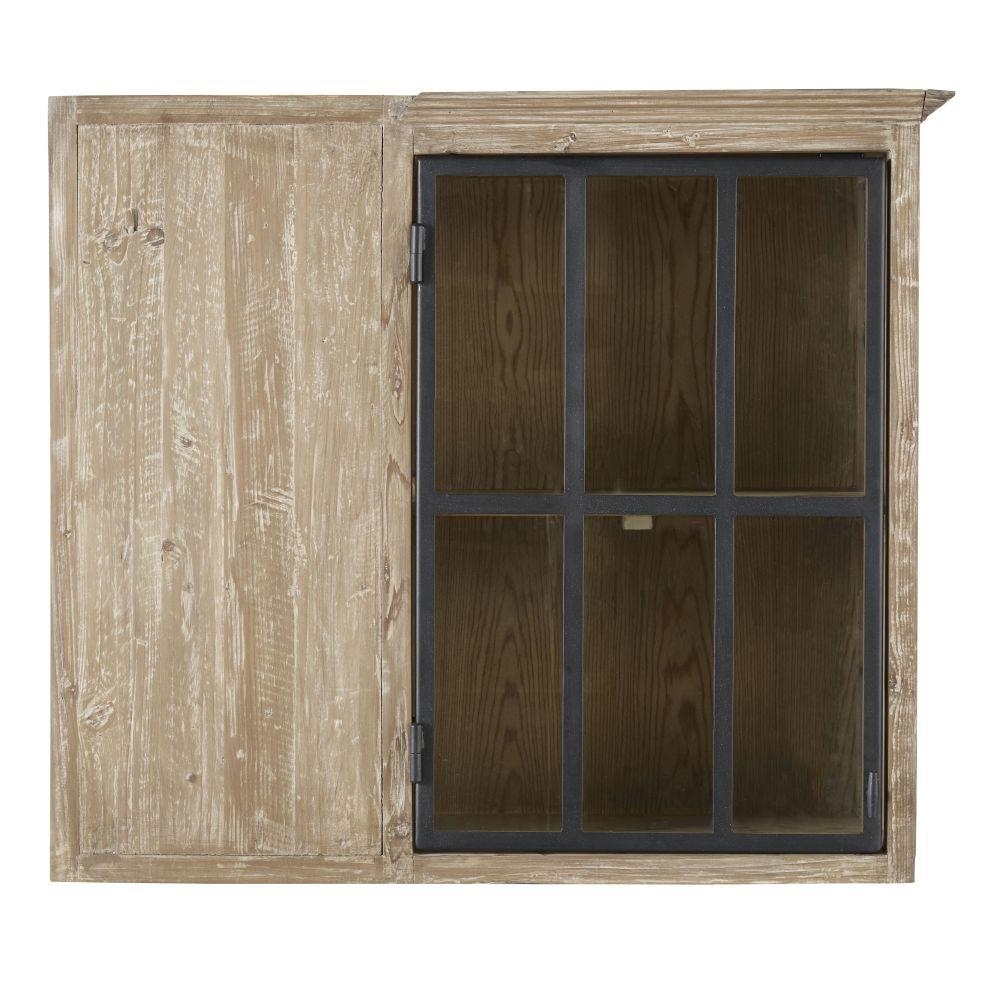 Maisons du Monde Meuble haut d'angle de cuisine 1 porte vitrée en pin recyclé Greta
