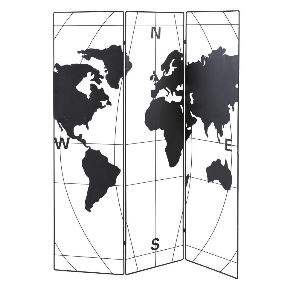 Maisons du Monde Paravent ajouré carte du monde en métal noir mat