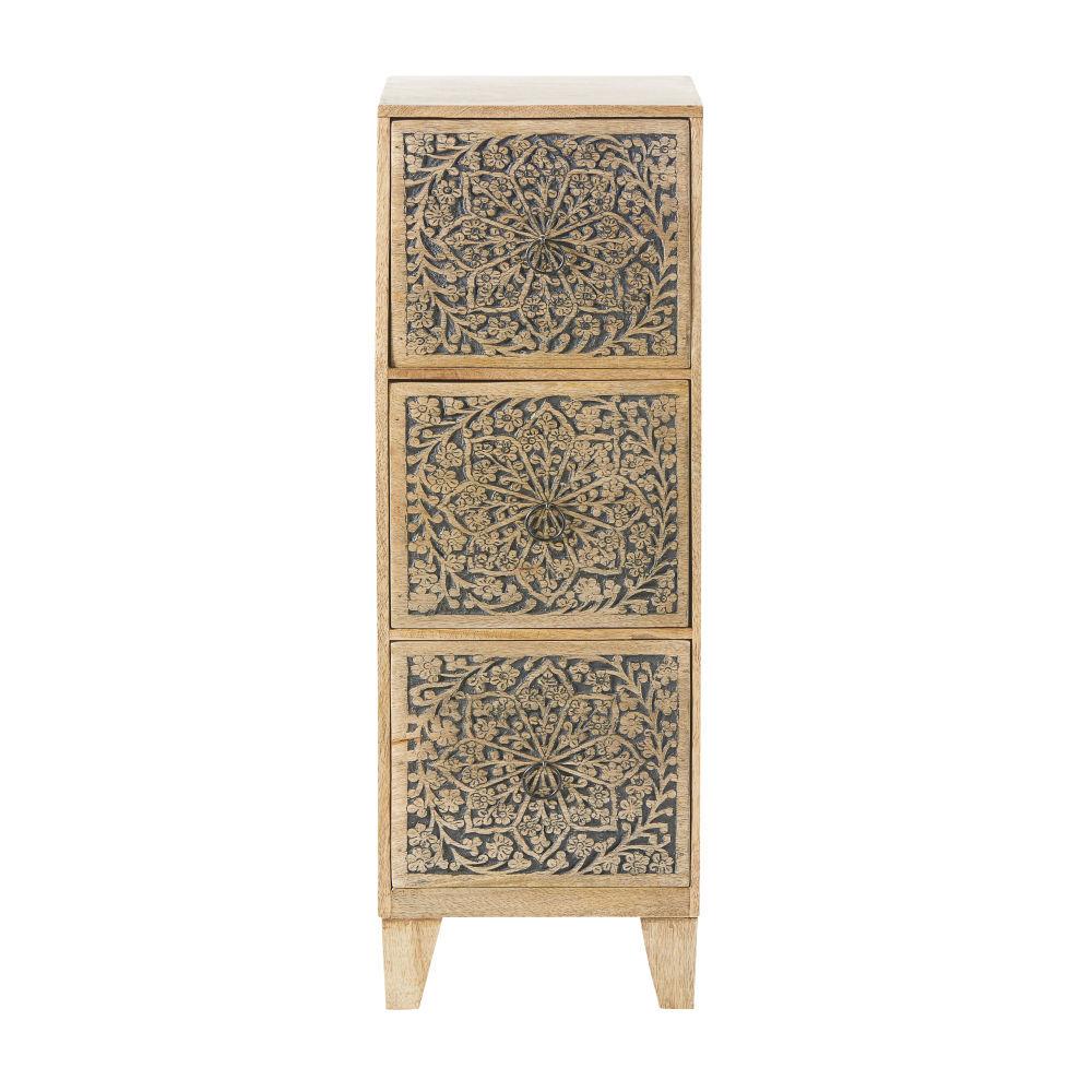 Maisons du Monde Petit meuble de rangement 3 tiroirs en manguier gravé
