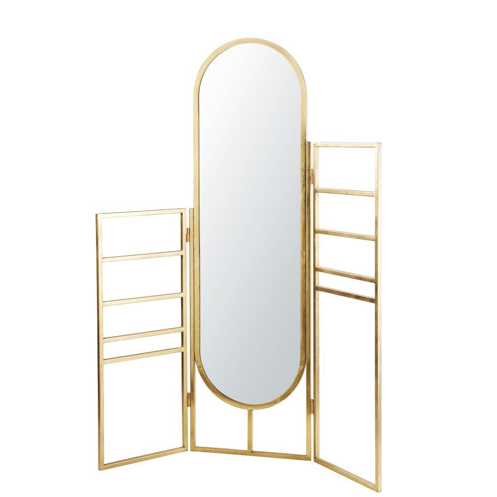 Maisons du Monde Porte-serviettes en métal doré avec miroir