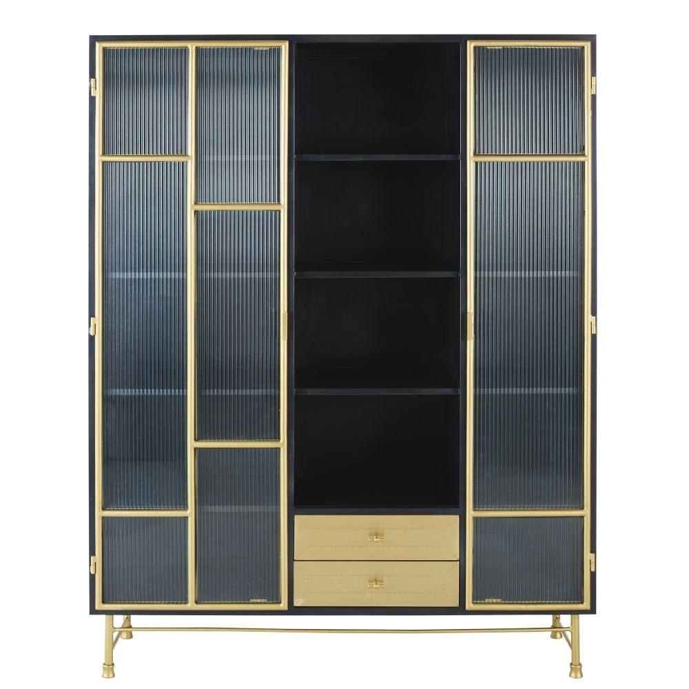Maisons du Monde Vitrine 2 portes 3 tiroirs en métal et verre ondulé Rockefeller