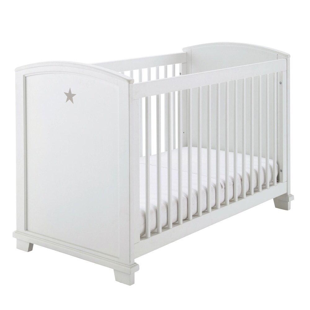 Maisons du Monde Lit bébé barreaux blanc imprimé étoile L131