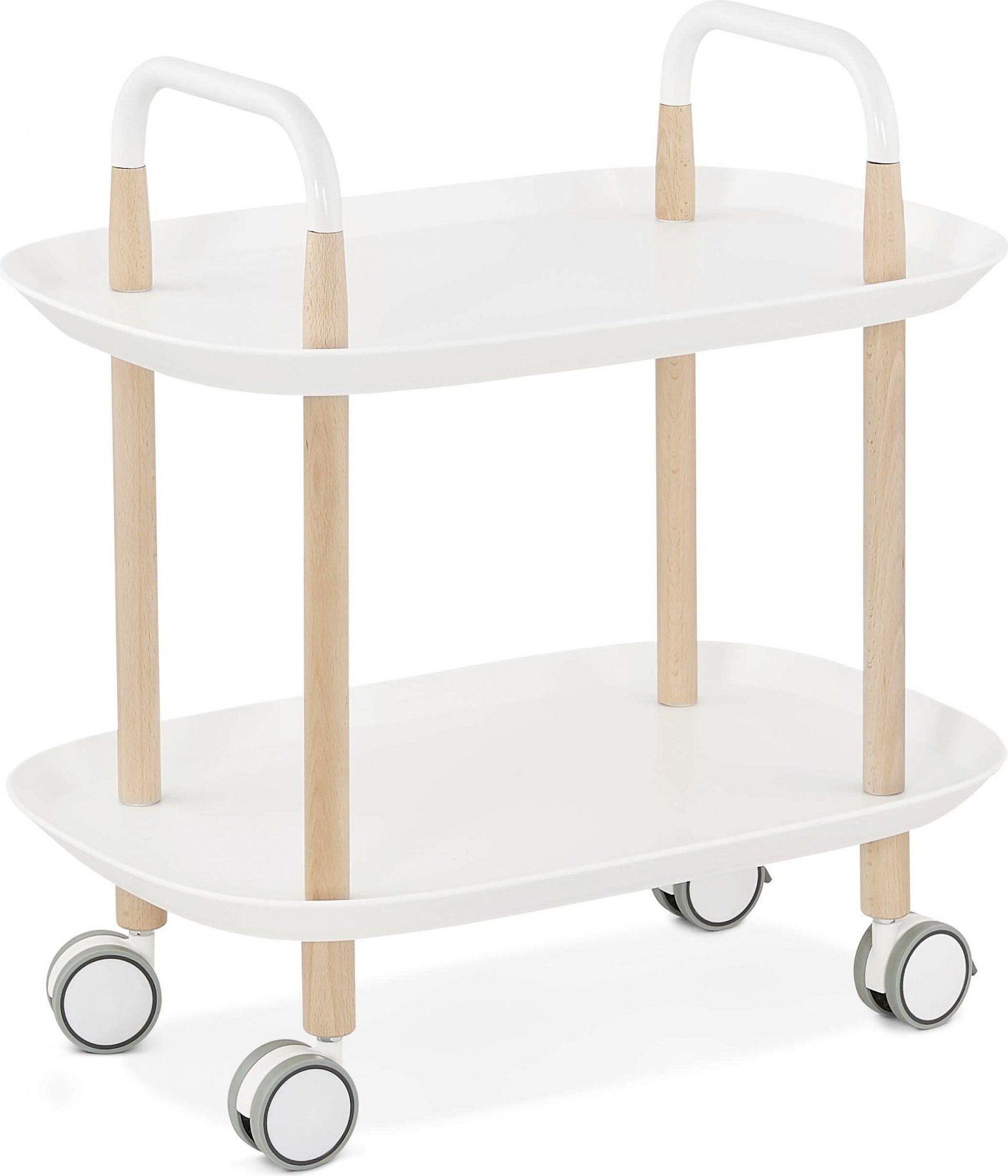 Kokoon Design Table basse desserte sur roulette blanc et bois clair