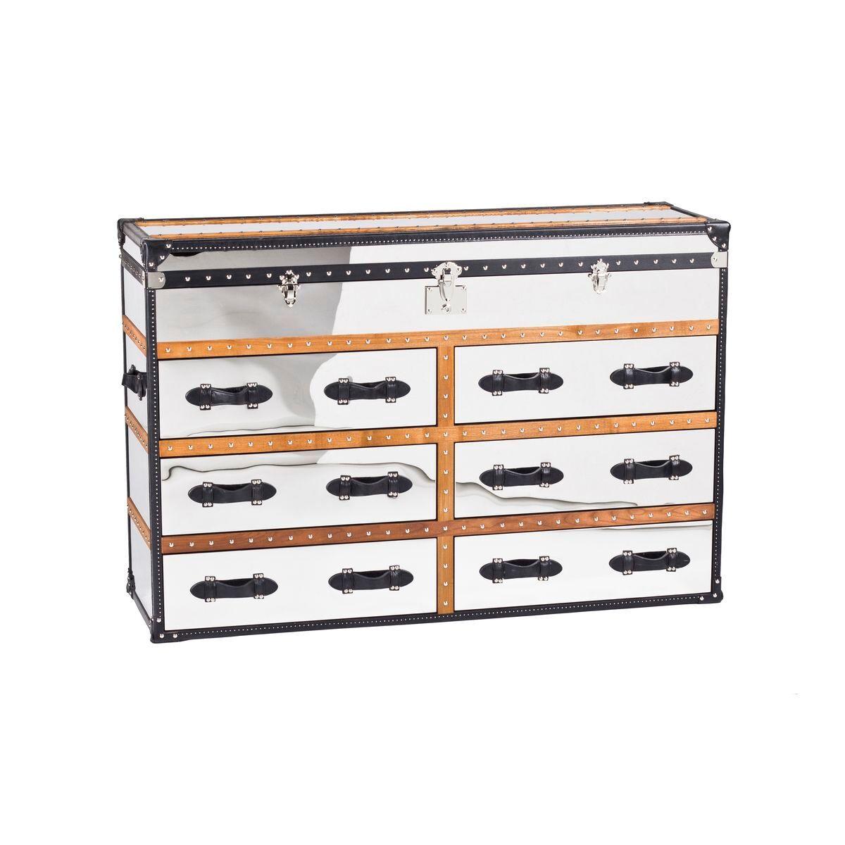 Now's Home Commode 6 tiroirs effet miroir en acier inoxydable et cuir marron