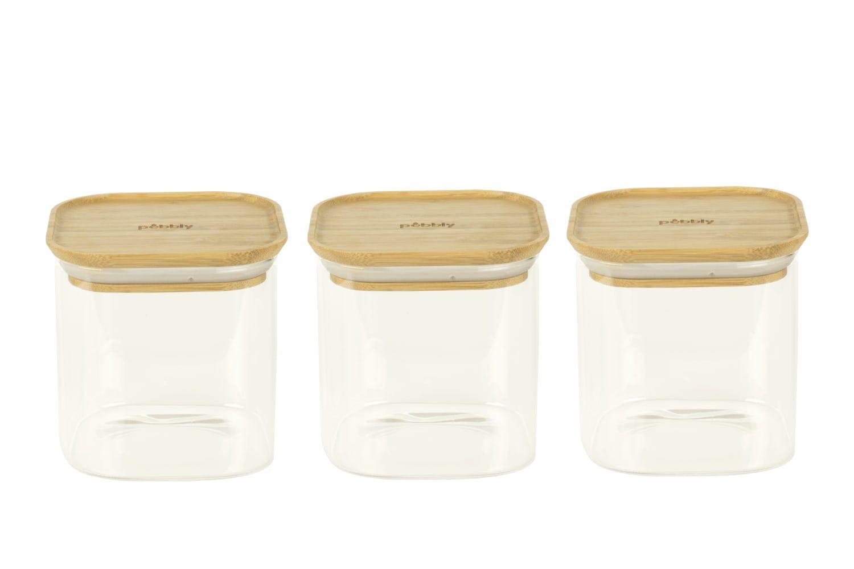 Pebbly Set de 3 boîtes carrées en verre avec couvercle en bambou 800ml