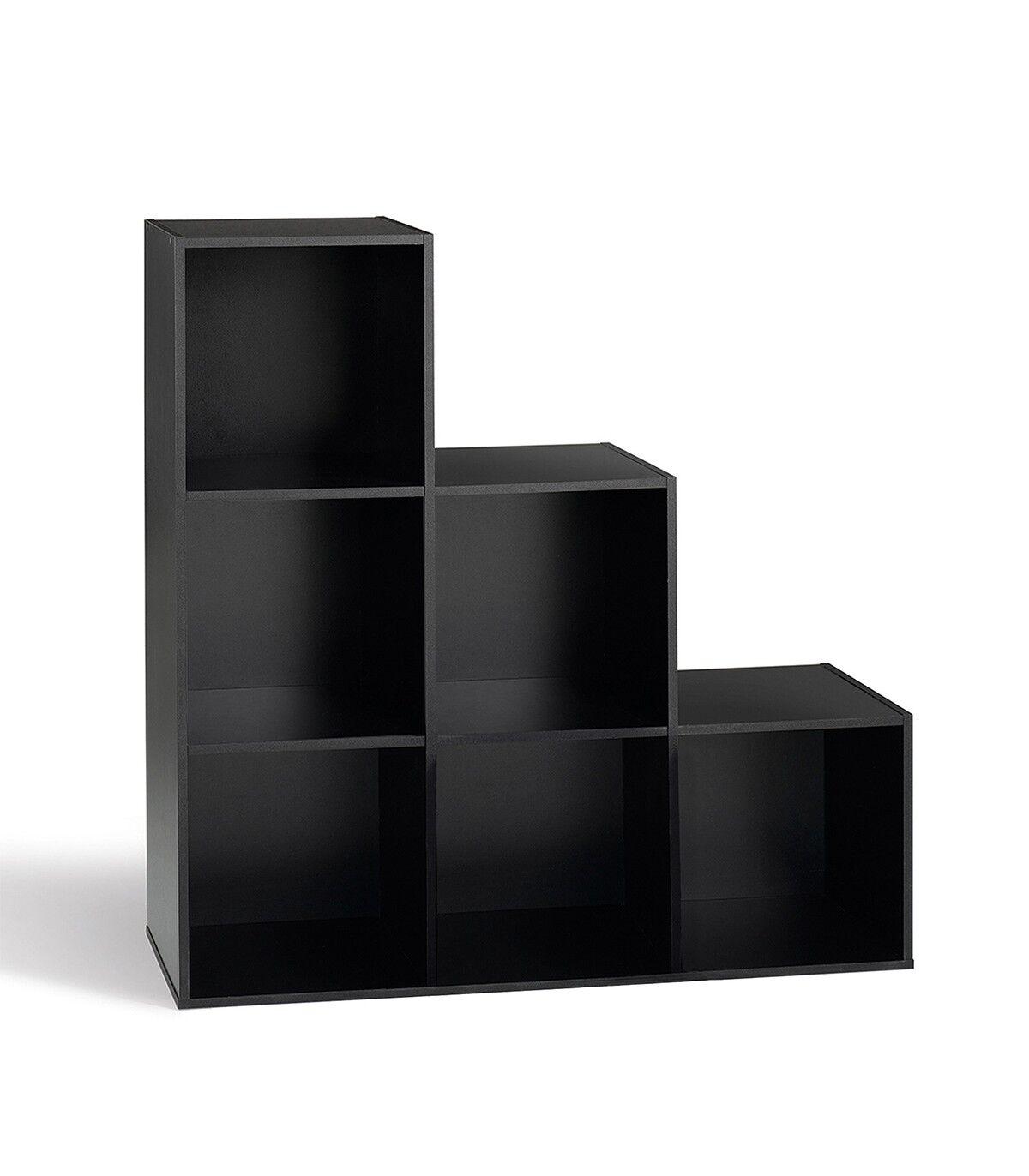 Calicosy Etagère de rangement avec 6 cases en escalier - Noir