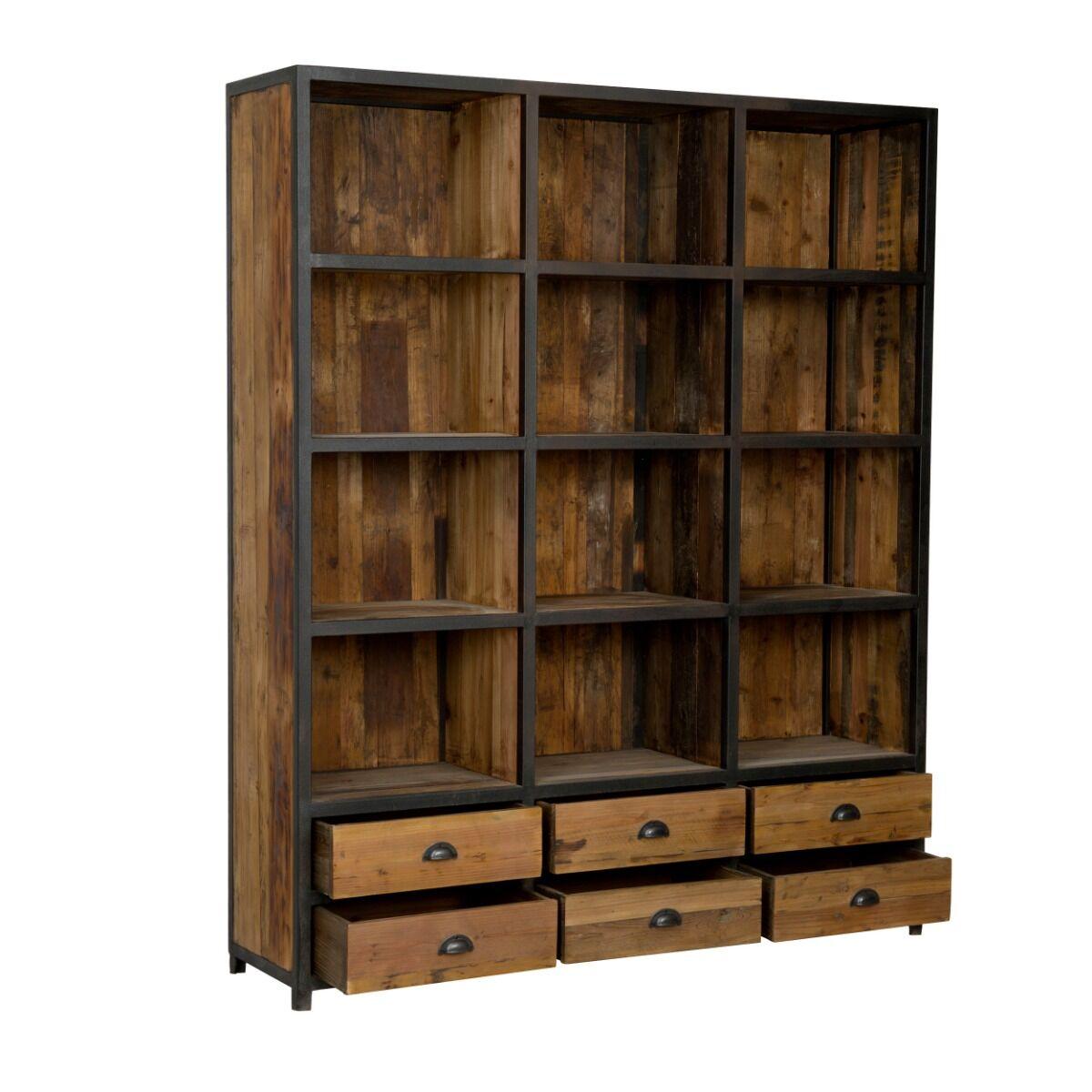 Rendez vous déco Bibliothèque 6 tiroirs 12 niches en métal et bois de cèdre
