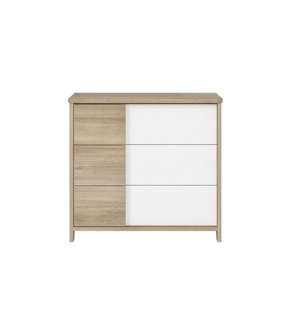 Calicosy Commode 3 tiroirs décor bois et blanc Bébé - 95 x H91cm