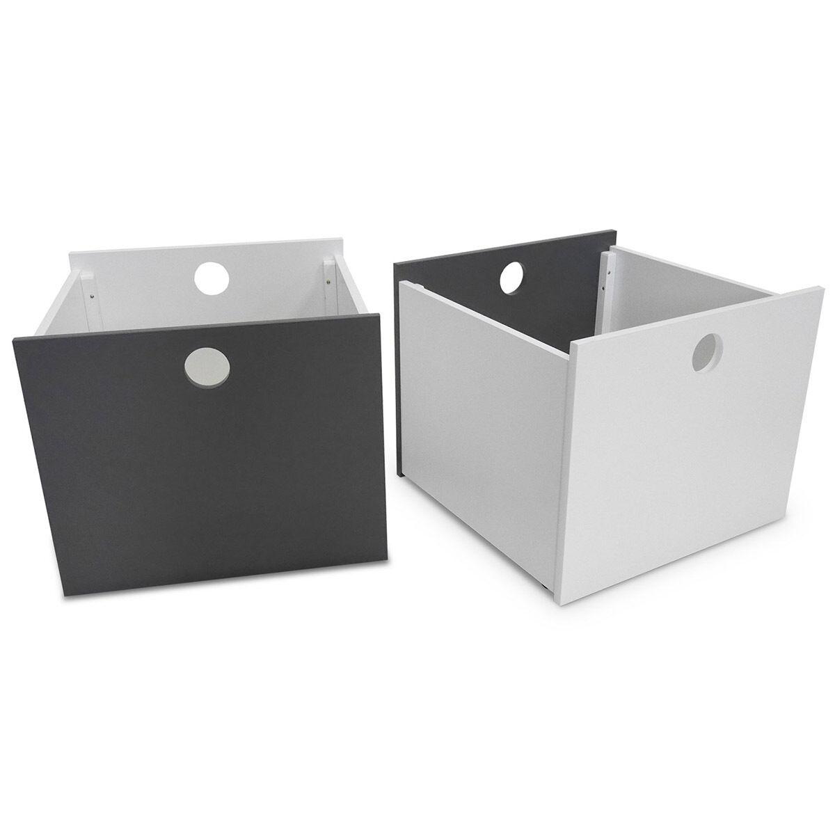 ID Kids Set de 2 cubes de rangement à roulettes Panneaux de bois  Blanc