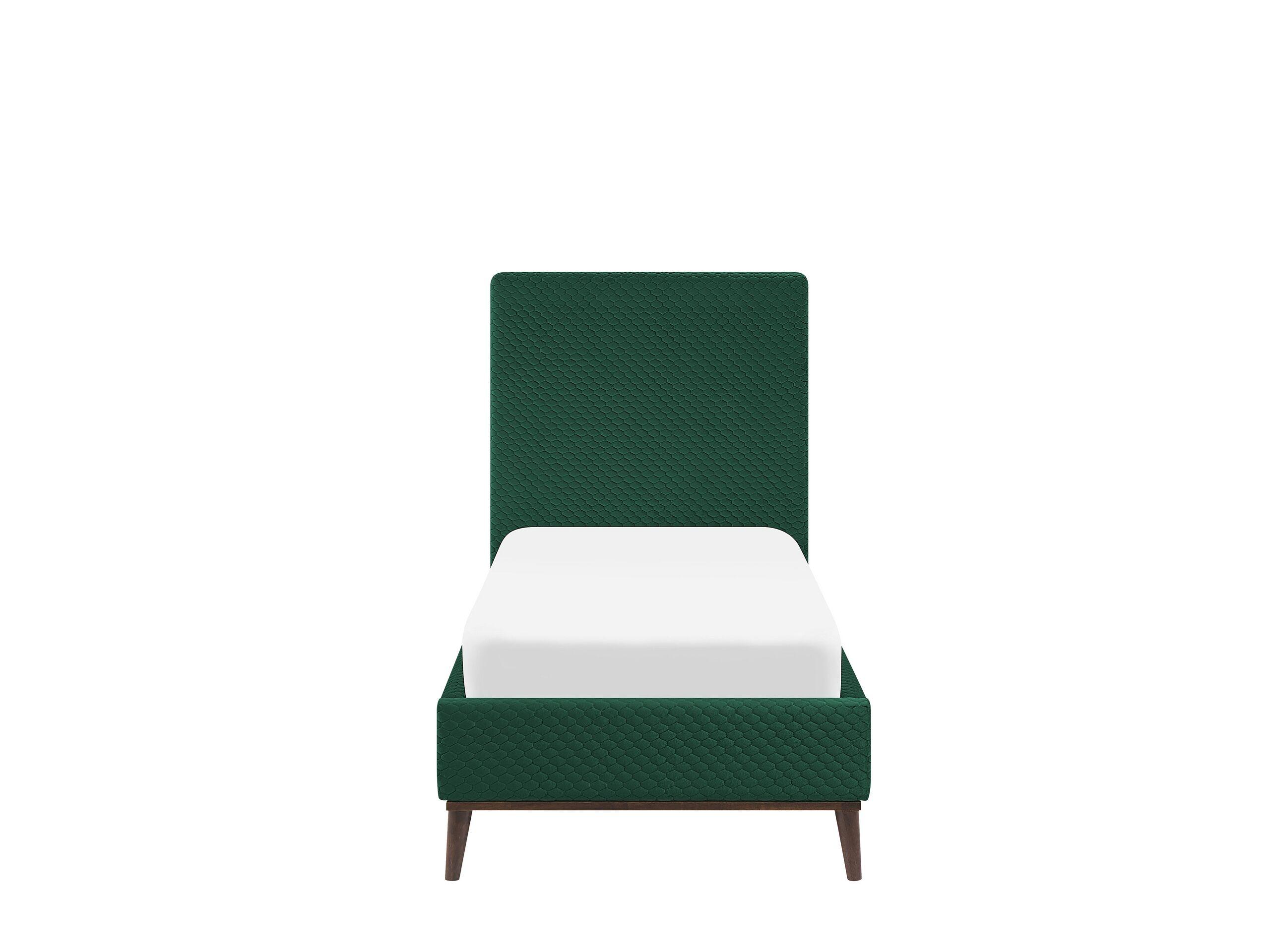 Beliani Lit simple 90 x 200 cm en velours vert foncé