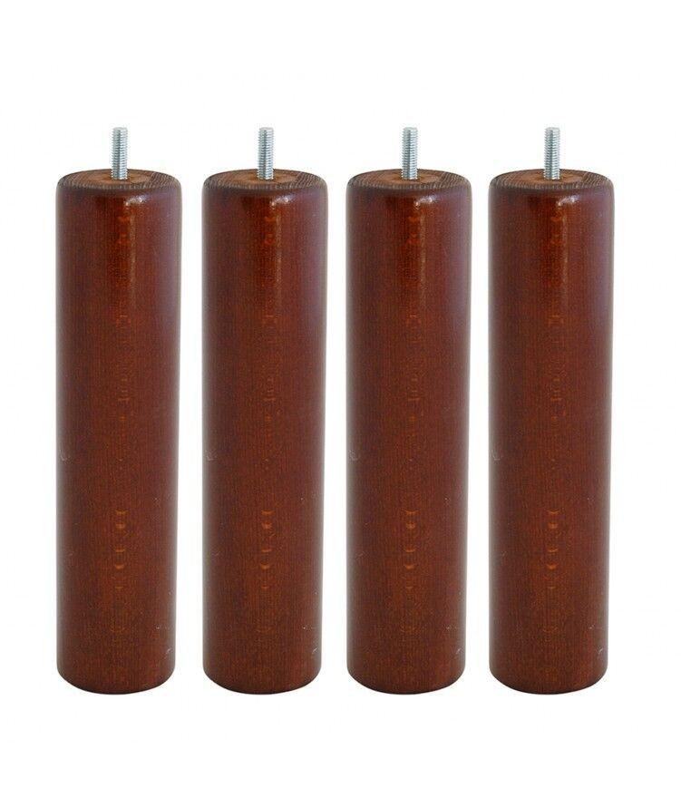 myQuintus Lot de 4 pieds de lit cylindre  H25cm finiton Noyer