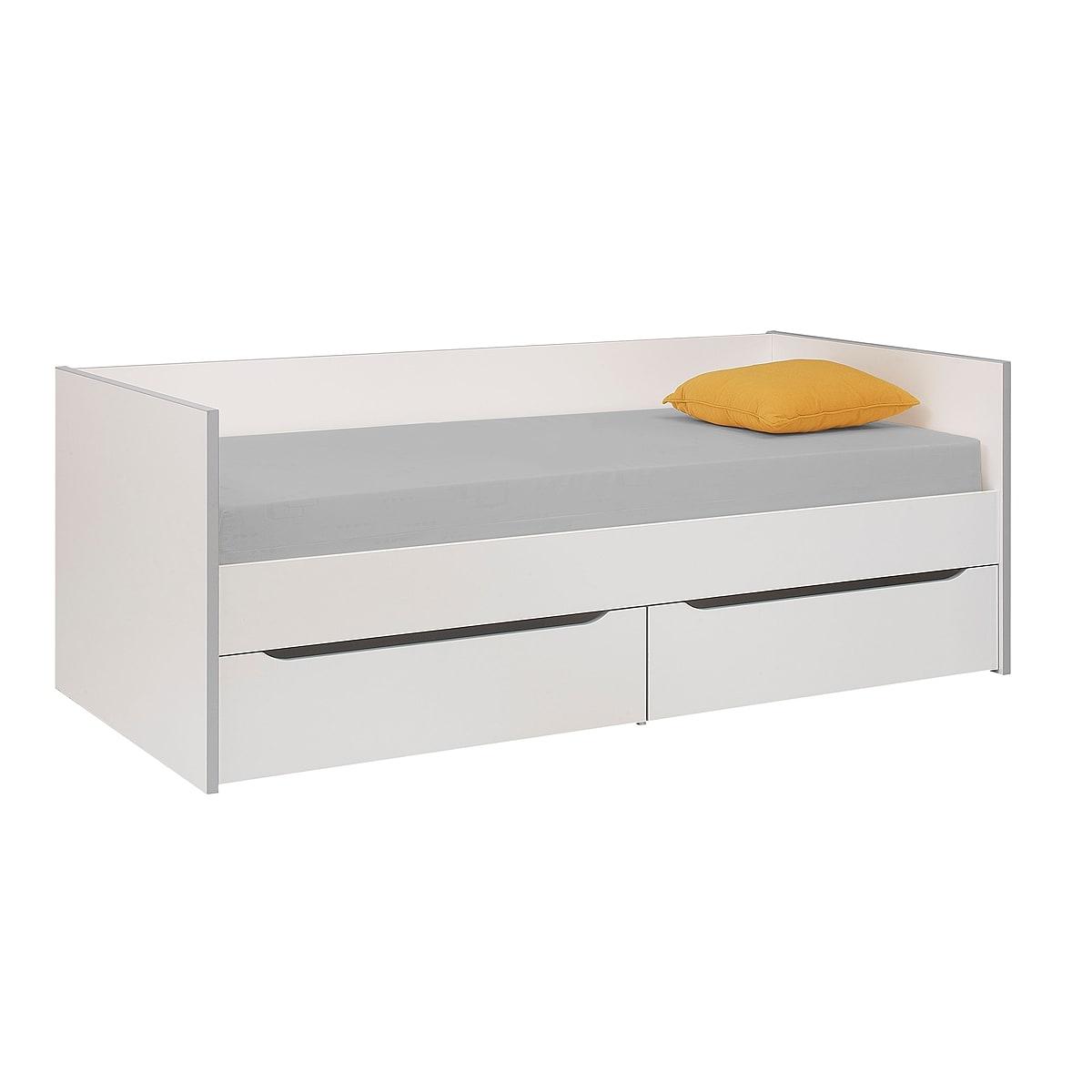 Gami Lit banquette 2 tiroirs 90x200 blanc gris