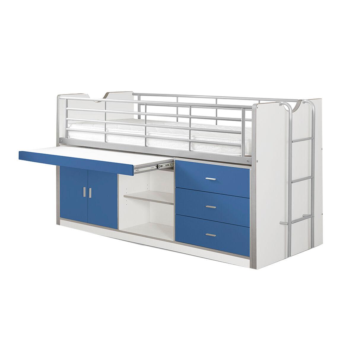 Vipack Lit combiné 95 90x200 sommier inclus bleu