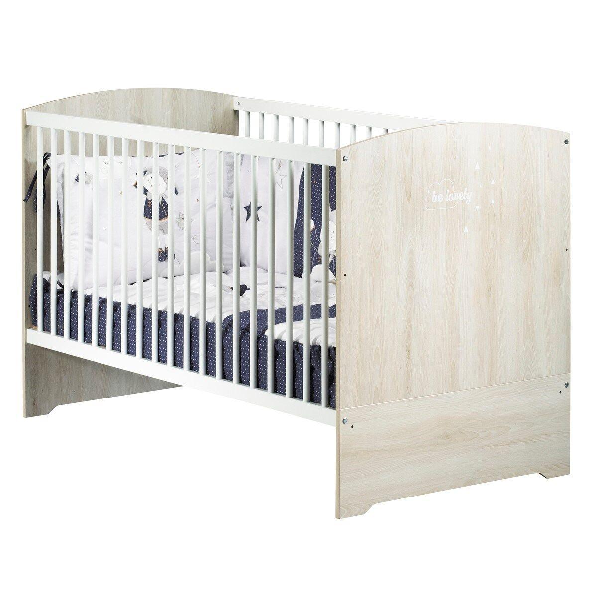 Sauthon Lit 140x70 hêtre cendré en bois blanc