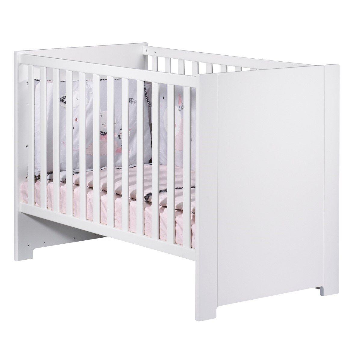 Sauthon Lit bébé 120x60 en bois blanc