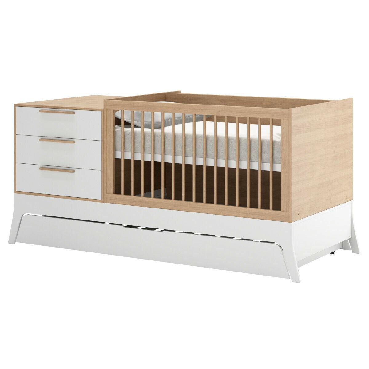 ID Kids Lit bébé combiné, évolutif Bois massif, MDF 70x140 Blanc, bois